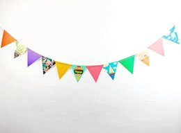 Wholesale Paper Holiday Crafts - Wholesale- 2.5m Holiday Pennant Party Decorations Outdoor Triangular Flags Paper Crafts Children Home Hanging Garland Supplies Baby Showers