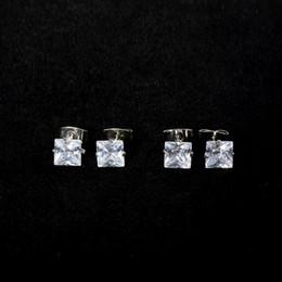 Wholesale Ear Cartilage - 1 Pair Fashion Jewelry Stainless Steel Ear Stud Square Zircon Ear Cartilage Helix Piercing Stud Earrings 4mm 5mm 6mm 7mm 8mm