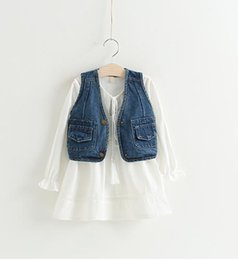 Wholesale Cute Korean Fashion Clothes - Fashion Girls Denim Waistcoat+Tassel Dresses Set Korean Spring Kids 2017 Boutique Clothing Little Girls Cotton Linen Dresses Outfits