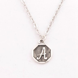 "Wholesale Initial Silver - 26pcs lot Jewelry Initial Alphabet Disc Pendant Necklaces 24"" N1724 (A-Z) Birthday Gift for Women Friendship Best Friend"