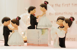 Wholesale Groom Bride For Cake - Mixed Style Bride and Groom Wedding Cake Topper Figurines Wedding Decoration Gfits Favors for Party Anniversary Gifts