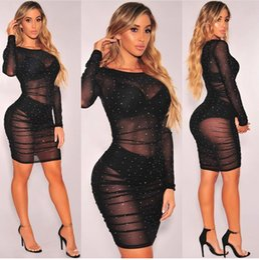 Wholesale Black Lace Translucent Dress - Sequined Rhinestone Vestidos De Festa Applique Lurex Translucent Bodycon Dress Organza Femme Ball Gowns Crystal Perspective Mesh Party Robes