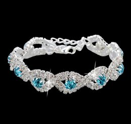 Wholesale Cheap Indian Bridal Jewelry Sets - Korea Women Silver Gold Plated Crystal Chain Tennis Bracelets Rhinestone Row Hand Jewelry for Bridal Wedding Party Cheap