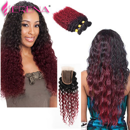 Wholesale Burgundy Curly - 1B 99J Human Hair Bundles And Closure Burgundy Ombre Kinky Curly Hair Virgin Hair With Closure Two Tone Brazilian 1b burgundy