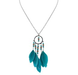 Wholesale Exotic Tassels - 2017 new fashion circle Tassel Necklac jewelry wholesale national style fashion oval fringe necklace exotic feathers long clothes chain