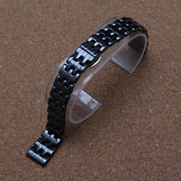 Wholesale Ladies Ceramic Band Watches - Black Watchband true Ceramic Watch band strap bracelet fashion new watches accessories fit brand luxury watch lady dress wristwatch 14mm hot