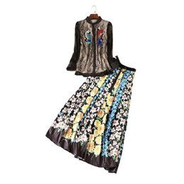 Wholesale Slim Look Dress - The new Europe and the United States women's 2017 spring Runway looks lace embroidery long sleeve shirt + pleated skirt suit