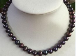 Wholesale Tahitian Black Red Pearl - stunning AAA 9-10mm tahitian black red pearl necklace