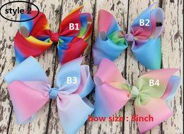 Wholesale Hair Clip Handmade - 7 style ! 8 Inch jojo Handmade ombre Rainbow Grosgrain Ribbons Metal Alligator Clip hair bow For Girls,Toddlers Teenager Women 24pcs