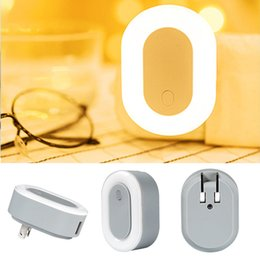 Wholesale Usb Wall Plates - Multifunction LED Night Light Charger Dual USB Wall Plate Foldable Charger Smart Design Light for Bedrooms 5V 2.1A with Package