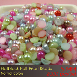 Wholesale Half Pearl Gem - Resin Half Round Pearl Beads Flat Back Gems Pearl Beads Nail Art DIY Decoration ABS 5mm Normal Color 2000pcs Set with free ship