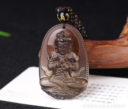 Wholesale Iced Jade Pendants - Wholesale- High Quality Unique Natural Ice Black Obsidian Carved Buddha Lucky Amulet Pendant Necklace For Women Men pendants Jade Jewelry