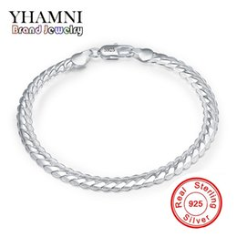 Wholesale Silver Tone Toggle Clasp - YHAMNI Original Real 925 Sterling Silve Bracelet Silver Tone bracelet Customized Mens Wholesale Jewelry Have S925 Stamp H199