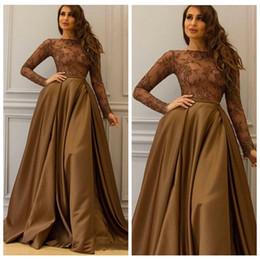 L'Arabie Saoudite Robes de Soirées Marron Manches Longues Une Ligne Prom Party Robes Gowns Formelle 2017 ? partir de fabricateur