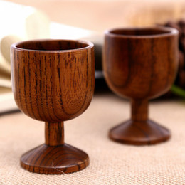 Wholesale Red Cup Shot Glasses - Wooden Red Wine Cup Goblet Jujube Wood Handcrafted Natural Wooden Tableware Mug Drinkware Hand-made Bar Tools F20171733