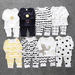 Wholesale Girls Pajamas Velvet - 2017 Boys Girls Baby Childrens Clothing Sets Cotton Velvet T-shirts Leggings Pants 2Pcs SetToddler Kids Home Pajamas Boutique Clothes