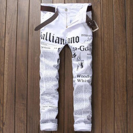 Wholesale White Stretch Jeans Mens - New luxury brand fashion stretch mens jeans white letters printing jeans men casual slim fit trousers denim printed jeans pants