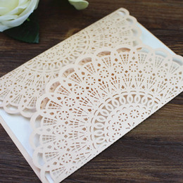 Wholesale New Years Boxed Card - Nude Pink Wed Invitation Laser Cut Floral Invitation Card Personal Size Invitation Box For Marriage Birthday Multi Color Wholesale