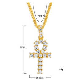 Wholesale Diamond Life - Hip Hop Gold Silver Ankh Egyptian Jewelry Pendant Bling Rhinestone Crystal Key To Life Egypt Cross Necklace Cuban Chain