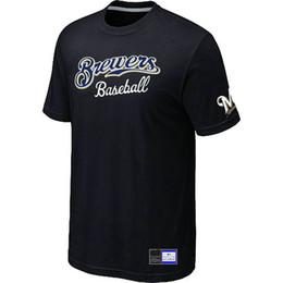 Wholesale Cotton Shirts Cheap - Cheap Milwaukee Brewers Baseball T Shirts Big&Tall Logo Fashion Baseball Tees Shirt Short Sleeve O-Neck Cotton T-shirt 14 Colors