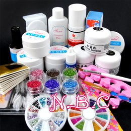 Wholesale Nail Art Pen Polish Brush - Wholesale- 1 set Acrylic power UV gel Nail Art Decorations Brush Set Tools Professional Painting Pen for False Nail Tips UV Nail Gel Polish