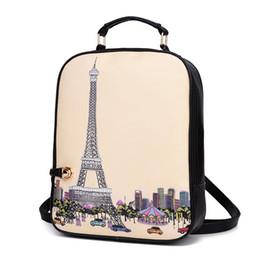 Wholesale Handbags Paris - Women Design Printing Backpacks Cartoon Graffiti Girls School Bag Female PU Leather Handbags Ladies Paris Eiffel Tower Mochilas