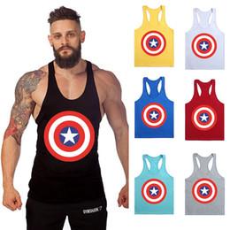 Wholesale Khaki Vest Wholesale - 2017 New Hot Captain America Tank Tops For Men Fitness Stringer Cotton Vest Shirts GYM Bodybuilding Mens Muscle Sports Tanks Tops