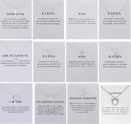 Wholesale Good Luck Elephant - 12 Designs Dogeared Necklace With Card Good Luck Elephant Pendant Noble and Delicate Silver Choker Valentine Day Gift