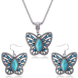 Wholesale Butterfly Necklace Set Silver - 12set lot Turquoise Butterfly Earrings Necklace Set Fashion Crystal Butterfly Animal Necklace Earring Sets free shipping