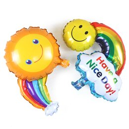 Wholesale Baby Celebration Party - Inflatable baby toys Wedding celebration birthday party decorations arranged smiling faces aluminum balloons sunny clouds rainbow balloons