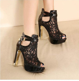 Wholesale fishing water shoes - wholesaler factory price free shipping lace water proof platform high heel sexy fish mouth horsehair women shoe 07