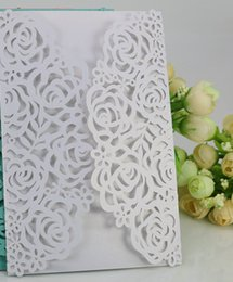 Wholesale Business Card Envelopes - Free Shipping 50pcs White Rose Flower Business Party Birthday Laser Wedding invitation card, no envelope,no inner sheet