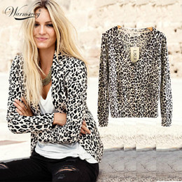 Wholesale Leopard Knit Sweater - Wholesale-2016 New Women's Spring And Autumn Fashion Sexy Leopard Cardigan Sweater Slim Knitted Cardigan Jacket Outerwear WS-015