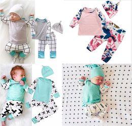 Wholesale Cute Baby Boy Pajamas - ins Boys Girls Baby Clothing Sets Long Sleeve Tshirts Pants Headband 3pcs Set Cute Print Toddler Pajamas Infant Boutique Clothes Outfits