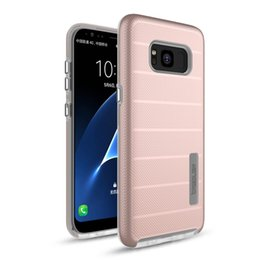 Wholesale Iphone Button Protective - Electroplating Button Stripe Design Armor Protective Hard Military Defender Clear TPU PC Phone Case For Samsung Galaxy S8 S8+