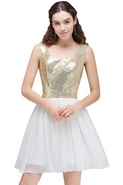 Wholesale Sexy Sequin Dress For Cheap - Cheap Gold Short A Line Homecoming Dress Scoop Keyhole Back Chiffon Sequin Mini Prom Party Dresses Cocktail Dresses For Girls 2017 Cps700