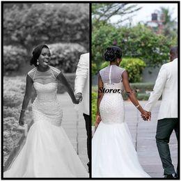 Wholesale Cheap Turkeys - Sexy 2017 Plus Size Mermaid Wedding Dress Turkey Pearls Beading Crystals Tulle Bodice African Wedding Gowns Bridal Dress Cheap