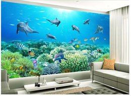 Wholesale Underwater Wallpaper Murals - Underwater world TV wall mural 3d wallpaper 3d wall papers for tv backdrop