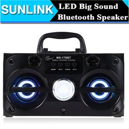 Wholesale Wholesale Audio Horns - Eonec MS-178BT Multimedia Bluetooth Wireless Speaker Support LED Shinning Radio TF Card Play AUX 2 Horns Stereo Music Player