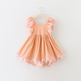 manches habillage enfants tulle Promotion New Summer Girls Vêtements Robes Polka Dots Printed Lace Edge Puff Sleeve Vêtements pour enfants Robe Princess Tulle Party Dressy Pink A6072