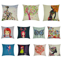 Wholesale Korea Pillow - Selling Pillowcase Cute Cartoon Illustrations Girl Japan and South Korea Wind Small Fresh Cartoon Pattern Pastoral Cotton Linen Pillow Sets
