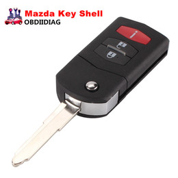 Wholesale Car Key Case Shell - New 2 +1 3 Button Flip Folding Remote Key Shell Car Case Fob Cover For Mazda 3 5 6 CX5 CX7 CX9 RX8 With LOGO