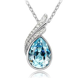 Wholesale Swarovski Element Jewellery - Wholesale Retro Water Drop Crystal Woman Pendant Necklace Made With Swarovski Element Fashion Rhinestone Party Jewellery Free Shipping
