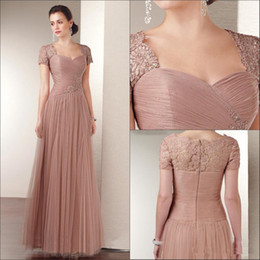 Wholesale Elegant Sweetheart Sequin Prom Dress - Elegant Champagne Tulle Mother Of The Bride Lace Dress A Line Short Sleeves Long Formal Evening Dress For Women Custom Made