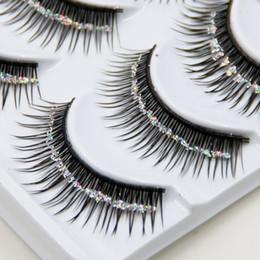 Wholesale Glitter Eyelash - Hot!!! Natural False Eyelashes Bare Silver Sequins Glitter Makeup False Eyelashes Stage Makeup Bridal Makeup Thick False Eyelashes