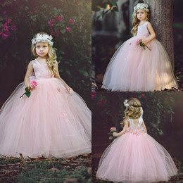 Wholesale Backless Dresses For Flower Girls - Lovely Pink Ball Gown Flower Girls Dress Bateau Neck Backless Pageant Dress For Kids Long Princess Birthday Party Gowns 2017 New Arrival