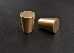Wholesale Door Pull Handle Brass - free shipping solid simple drawer knob furniture hardware wardrobe shoe door single hole handle round cone pull