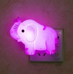Wholesale Small Plugging Lamp - Wholesale- A pink elephant led night light lamp socket with switch plug creative small bulb feeding bedroom luminous energy