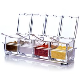 Wholesale Wholesale Spice Racks - 4 Piece Acrylic Seasoning Box Clear Seasoning Rack Spice Pots Storage Container Condiment Jars Cruet with Cover and Spoon Kitchen essential