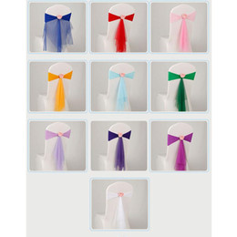 Wholesale Tie Back Chair Sashes - Bowknot Designed Chair Ribbon No-tie Bow Sash Wedding Hotel Banquet Chair Cover Chair Bands Back Decoration